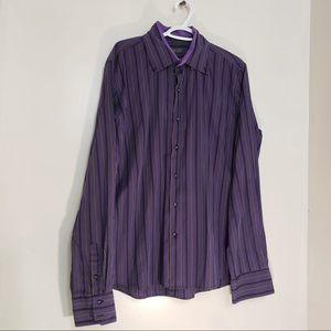 David Paddles Purple Striped Button Up CollarShirt
